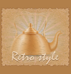 retro style poster old kettle vector image vector image