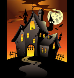 Scene with halloween mansion 1 vector