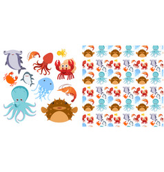 seamless background design with sea creatures vector image