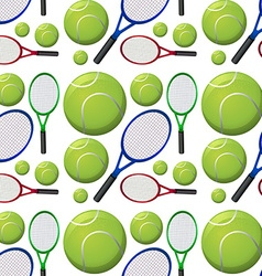 Seamless background with tennis rackets and balls vector