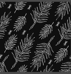 Seamless white sketch of jungle branches pattern vector