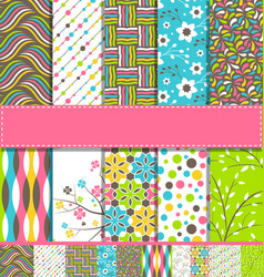 set 10 seamless bright fun spring patterns vector image