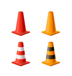 set bright yellow and red road cones isolated vector image