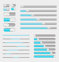 Set of gray and blue interface buttons sliders vector
