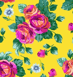 Sexy Pink Roses on Yellow background vector image