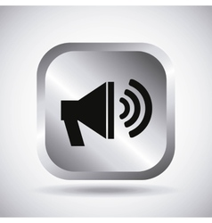 Silver speaker button design vector image
