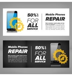 Smart phone repair banner vector