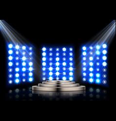 stage podium with spotlights on dark background vector image