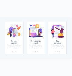 Tax payment stages app interface template vector