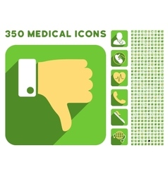 Thumb Down Icon and Medical Longshadow Icon Set vector image