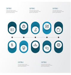 Trade outline icons set collection of businessman vector