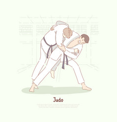 Traditional asian martial arts sparring young men vector