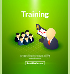 Training poster of isometric color design vector