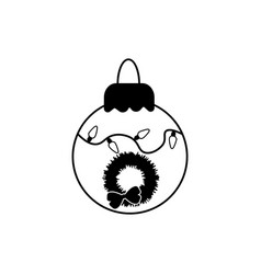 tree ball line icon cristmas decoration isolated vector image