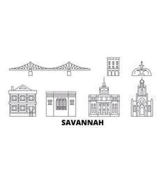 United states savannah line travel skyline set vector