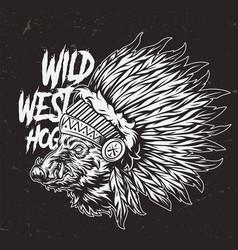 vintage monochrome wild west concept vector image
