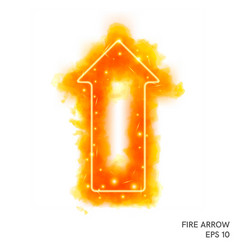 watercolor fire arrow with neon counter vector image