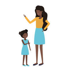 Woman with daughter avatar character vector
