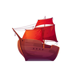 Wooden boat with red sails vector