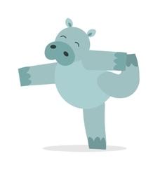 Yoga Animal Hippopotamus Cute Hippo Does Asana vector