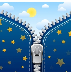 Zipper background Night is changed with day vector