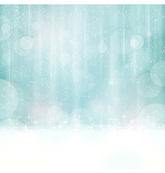 Blue winter background with blurry lights vector image vector image