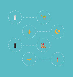 flat icons muslim woman genie pitcher and other vector image vector image