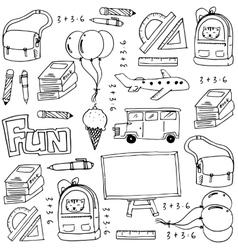 Hand draw education school doodles vector image