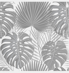 seamless pattern with grayscale tropical exotic vector image
