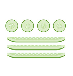 set of cucumber slices flat icons for food vector image