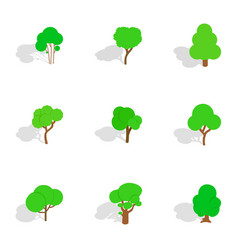 summer tree icons isometric 3d style vector image