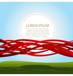 banner in red ribbons vector image vector image