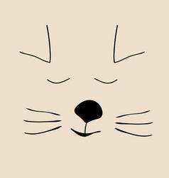 kitty sleep cute funny cartoon cat head vector image vector image