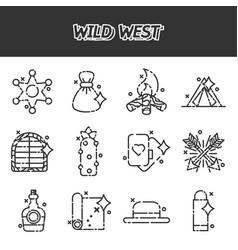 wild west cartoon concept icons vector image