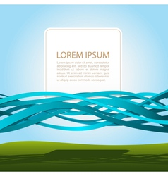 banner in blue ribbons vector image vector image