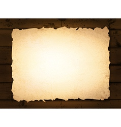 burnt paper at wooden background vector image vector image