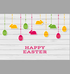 happy easter card with hanging stickers vector image
