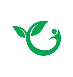 leaf human eco logo vector image vector image