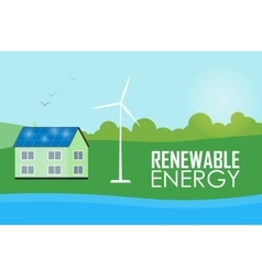 Renewable energy Sun and wind generation vector image vector image