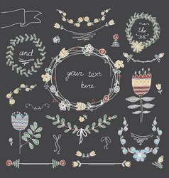 retro floral background set vector image