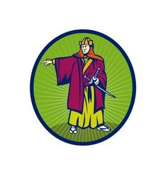 Samurai warrior with katana sword pointing side vector image vector image