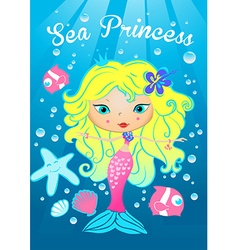 Sea princess swimming under the sea vector image vector image
