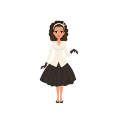 beautiful brunette young woman in black skirt vector image