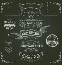 hand drawn banners and ribbons on chalkboard vector image