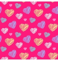 Scribble hearts pattern vector image vector image