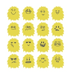 Set of hand drawn cute smiley monsters Collection vector image