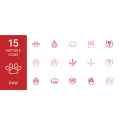 15 paw icons vector