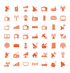 49 antenna icons vector image