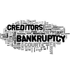 a note about personal bankruptcy text word cloud vector image