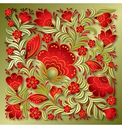 abstract red floral ornament on a golden vector image